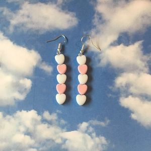 white and light pink pastel heart drop earrings
